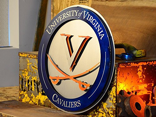Gear New University of Virginia Crest 3D Vintage Metal College Man Cave Art, Large, Orange/White/Blue by Gear New (Image #3)