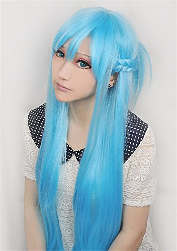 [Lanting Cosplay wig Sword Art Onlin Y?ki Asuna Blue Long Lolita Beauty Woman Anime Human Costume Full wigs Synthetic Hair Heat Resistant] (Female Flasher Adult Costumes)
