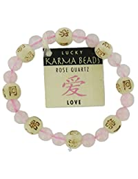 Lucky Karma Bracelet, Rose Quartz for Love & Friendship, Womens Genuine Gemstone Stretch Bracelet
