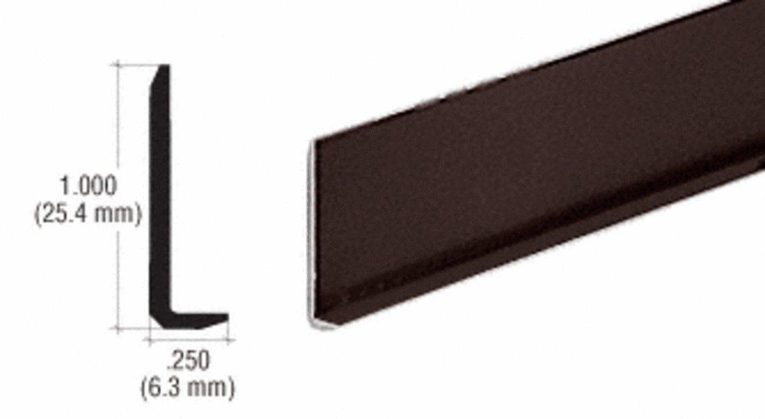 CRL Dark Bronze Aluminum 1/4'' L-Bar Extrusion - 12 ft Long - One Piece