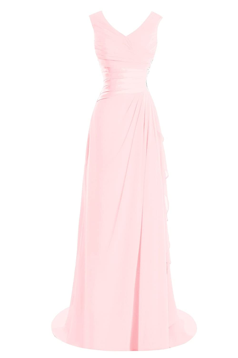 blueshing Pink Bess Bridal Women's A Line V Neck Appliques Formal Long Prom Evening Dress