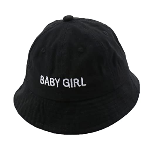 c94d4cdd48f97 Simdoc Cotton Baby Summer Bucket Hat Kids Letter Embroidery Beach Sun Cap  Unisex Casual (Black