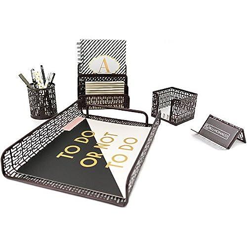 Blu Monaco Bronze Desk Organizer   5 Piece Desk Accessories Set   Letter    Mail Organizer, Sticky Note Holder, Pen Cup, Business Card Holder, ...