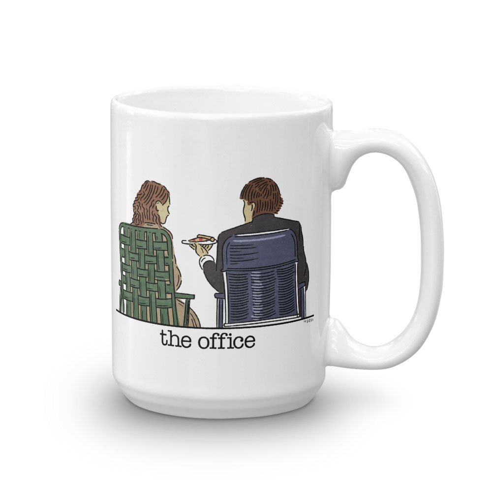 Amazon.com: The Office Jim and Pam Roof Date White Mug - 15 oz ...