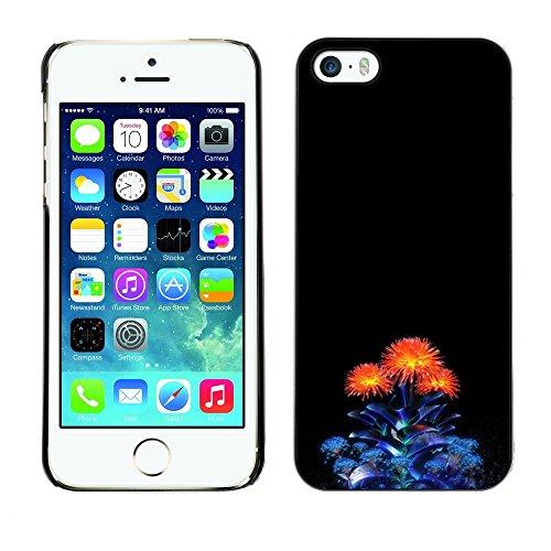 TopCaseStore / caoutchouc Hard Case Housse de protection la Peau - Blue Orange Minimalist Bouquet Flower - Apple iPhone 5 / 5S