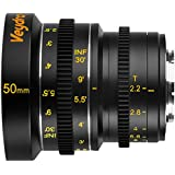 Veydra V1-50T22M43I Mini Prime 50mm T2.2 Imperial Cinema Lens with Manual Focus, Black
