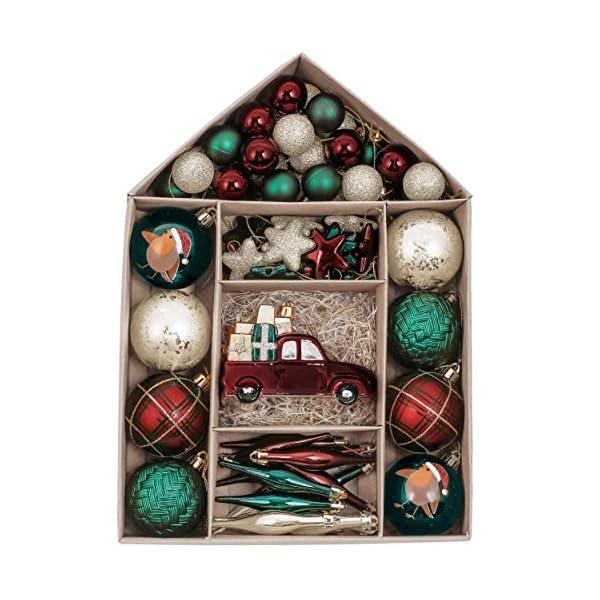Valery Madelyn Palle di Natale 70 Pezzi di Palline di Natale, 3-6 cm di Strada di Campagna Rosso Verde e Oro Infrangibile Ornamenti di Palla di Natale Decorazione per la Decorazione 1 spesavip