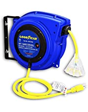 Goodyear Extension Cord Reel Retractable 16AWG x 50' Foot 3C/SJTOW Commercial Cable LED Triple Tap Connector Power 7.5A 125VAC 938W