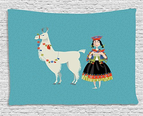 Peruvian Wall Rug - Llama Tapestry, Peruvian Woman Knitting with a White Alpaca Wrapped with Flower Colorful Illustration, Wall Hanging for Bedroom Living Room Dorm, 60 W X 40 L Inches, Multicolor