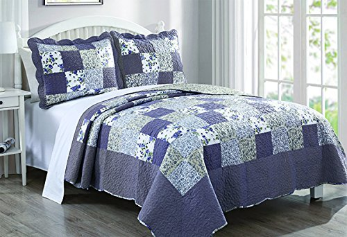 Dada Bedding Reversible Patchwork Plaid Floral Blueberry Patch Bedspread Quilt Set, Navy Blue, Cal King, 3-Pieces