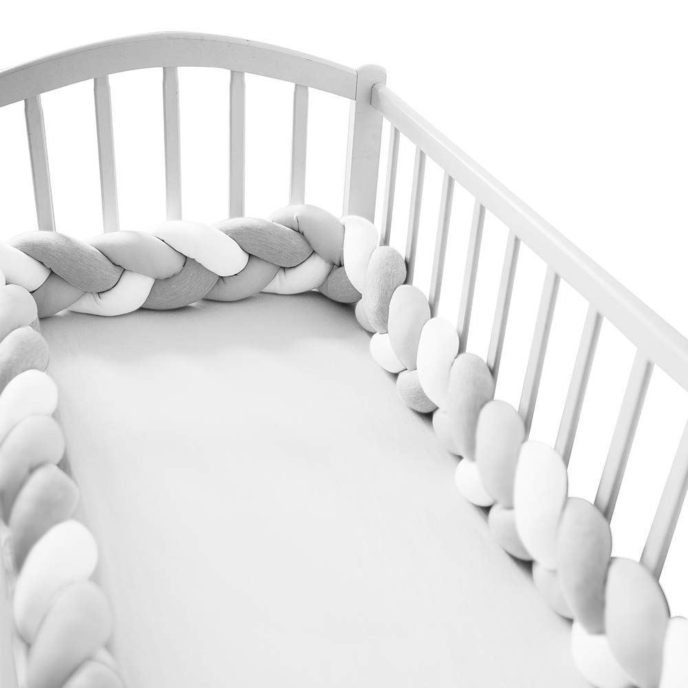 Wonder Space Soft Knot Plush Pillow - Baby Crib Bumper, Fashion Nursery Cradle Decor for Baby Toddler and Childern (Grey/White, 118IN / 3M) by Wonder Space