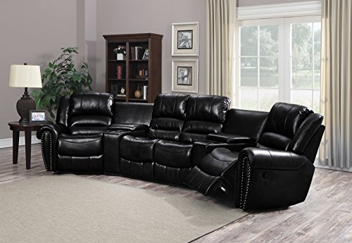 Milan AUSTIN-5PC Bonded Leather Reclining Sofa Set with 2 Console Tables, Black
