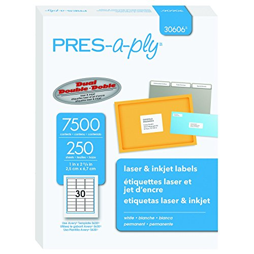 Pres-a-ply Laser Address Labels, 1 x 2.625 Inches, White, Box of 7500 (30606) (Address Pres A-ply Label)