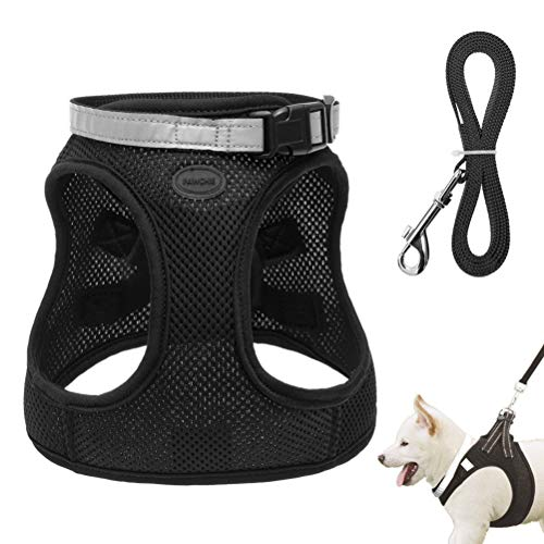 PAWCHIE No Pull Mesh Dog Harness with Leash - Step-in Padded Vest Harness for Small Dogs and Cats - Escape Proof Reflective Puppy Harness for Outdoor Walking Black