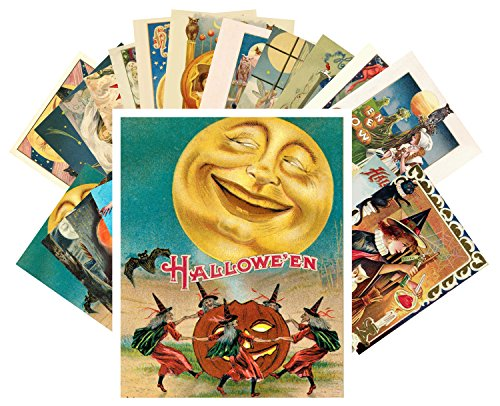 Postcard Set 24 cards Halloween Pinup Witch Vintage Greeting Cards Reprint -