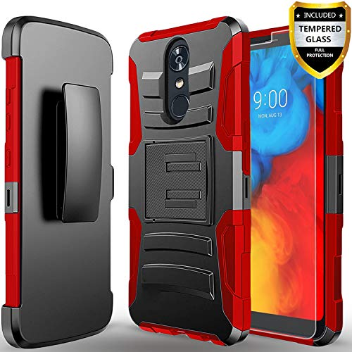 Revvl 2 Case,(T-Mobile) Case, with [Tempered Glass Screen Protector] Heavy Duty Drop Protection [Combo Holster] Rugged Belt Clip Phone Cover with Built-in Kickstand and Stylus Pen-Red