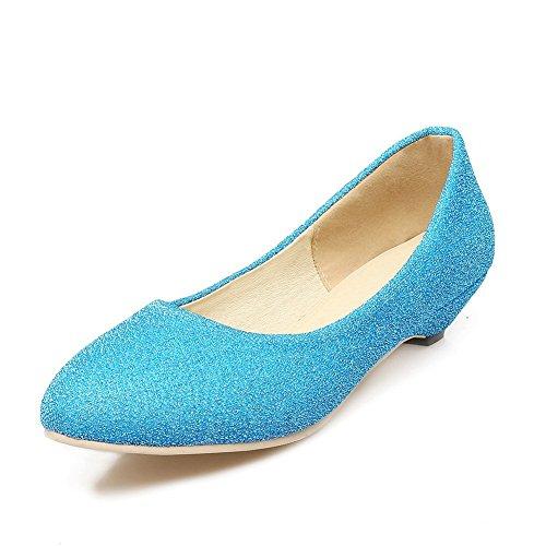 Balamasa Ladies Tacco Grosso Winkle Pinker Tomaia Bassa Imita Pumps-shoes In Pelle Blu