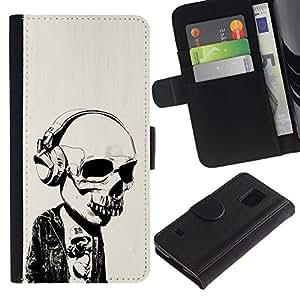 EJOY---Tirón de la caja Cartera de cuero con ranuras para tarjetas / Samsung Galaxy S5 V SM-G900 / --Auriculares Street Style Skull Skeleton