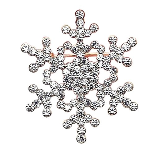 Botrong Fashion Brooch Pin Crystal Rhinestone Large Snowflake Winter Snow Theme -