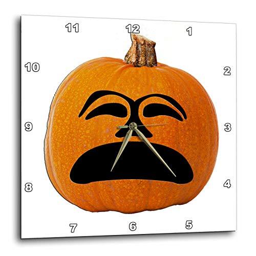 (3dRose Sandy Mertens Halloween Food Designs - Jack o Lantern Unhappy Sad Face Halloween Pumpkin, 3drsmm - 15x15 Wall Clock)