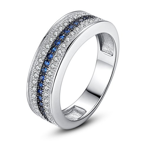 Bamoer Lover Blue and Silver 18K White Gold Plated Brass Finger Ring with Black Nickel Unisex Engagement Wedding AAA Cubic Zirconia CZ Unisex Ring Jewelry Gift - Ring Strand 18k