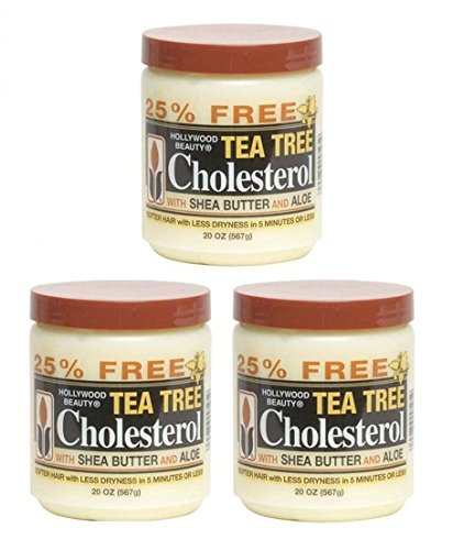 Hollywood Beauty Tea Tree CholesterolWith Shea Butter and Aloe 20 Oz (3 pack)