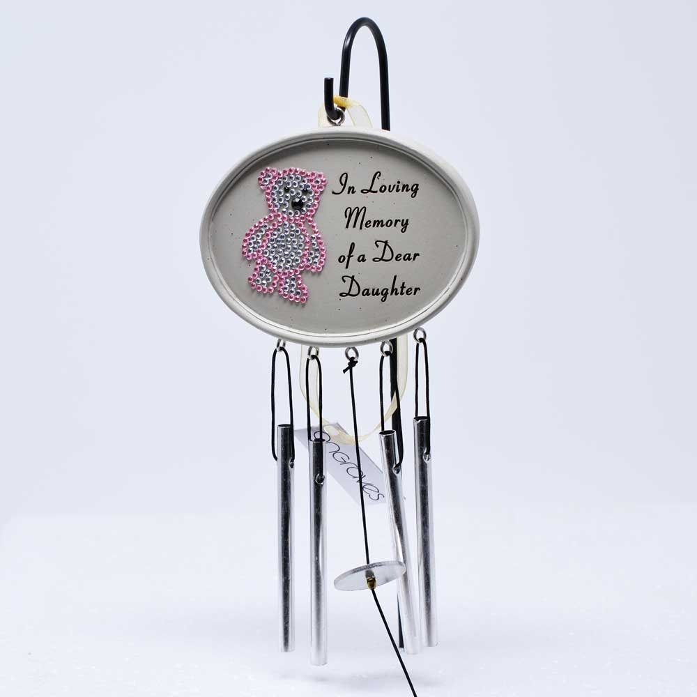 Angraves Special Daughter Baby Girl Pink Diamante Teddy Memorial Wind Chime Plaque Graveside
