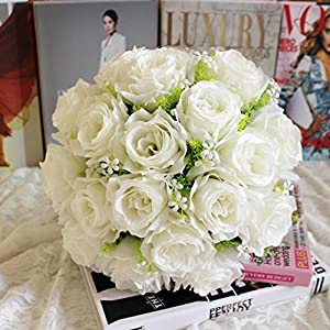 YJYdada 18Head Artificial Silk Roses Flowers Bridal Bouquet Rose Home Wedding Decor (B) 28