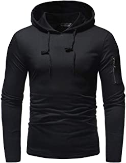 ZEFOTIM Mens' Autum Winter Long Sleeve Zipper Patchwork Hooded Sweatshirt Outwear Tops