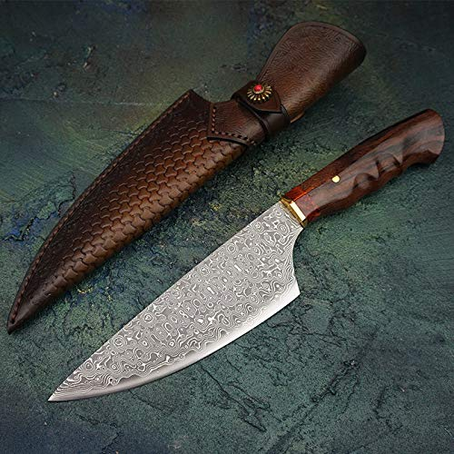 Wholesale Chinese Dresses - Best Quality Kitchen Knives 7.5 inch Damascus Steel Chef's Knives Rosewood Handle Gyotou Knife Cleaver Handmade Kitchen Knife With Leather Sheath