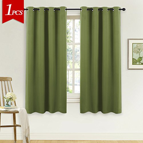 NICETOWN Blackout Short Curtain for Small Window – (Olive Green Color) Home Decor Window Treatment Drape Modern Design Drapery for Kitchen Room by, 52Wx63L,1 Panel