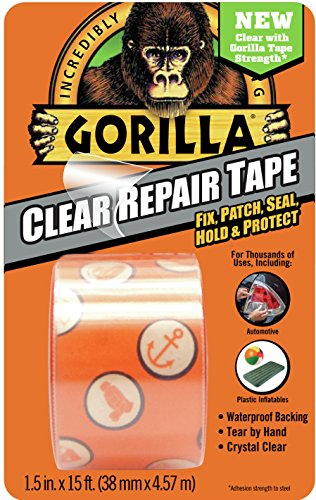 "Gorilla 6015002 Tape, Crystal Clear Duct Tape, 1.88"" x 5 yd, Clear, (Pack of 1) - Crystal Clear Tape"