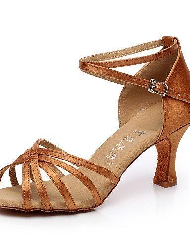 Latine Personnalisable Chaussures Talon Flocage Non Femmes Évasé Danse De De Marron Salsa Shangyi Satin Noir 1wqT0T