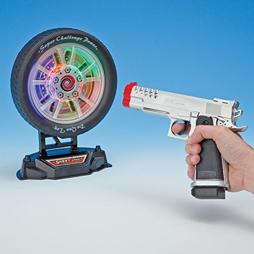 Bits and Pieces - Laser Target Shooting Game Set - Laser Pistol and Target Set - Target Measures 6-1/2
