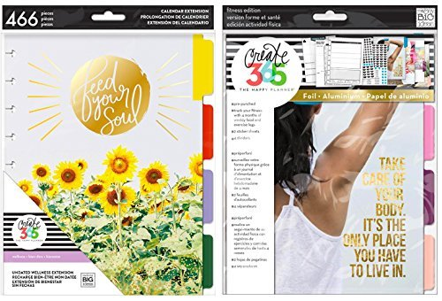 Classic Happy Planner Undated Extensions Bundle - Wellness and Fitness Planner Add-Ons - 2 Items