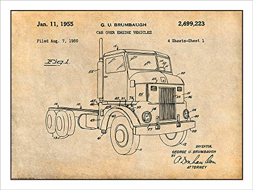 "Studio 21 Graphix 1950 Peterbuilt Cab Over Diesel Semi Truck Patent Print Art Poster UNFRAMED Parchment 18"" X 24"""