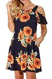 QIXING Women's Casual Plain Short Sleeve Simple T-Shirt Loose Floral Print Dress FP-Sun-Black-L
