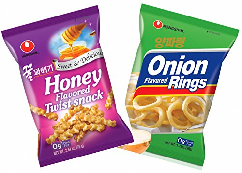 Nongshim Honey Twist Snack, Onion Flavored Snack - Combo Pack (Pack of 2)