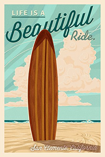 San Clemente, California - Surf Board Letterpress - Life is a Beautiful Ride Press Art (16x24 Giclee Gallery Print, Wall Decor Travel - Is Where California Clemente San