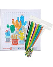 CactusPattern Stamped Cross StitchBeginner Kit with 11 CT Cloth, Needles, Thread, Drawings(6 Pieces)