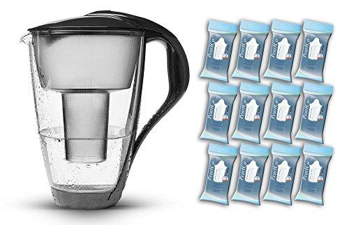 PearlCo Glas-Wasserfilter (anthrazit) - Jahres-Paket inkl. 12 classic Filterkartuschen (kompatibel mit Brita® classic)