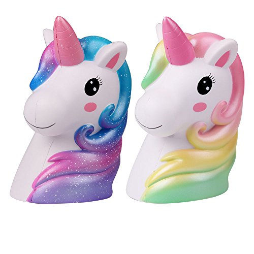 LaooDa New 6.1'' Jumbo Squishies Unicorn 2PCS Slow Rising Rainbow Long Hair Horse Animal Stress Relief Hop Props Party Supplies Toy Gift for Kid Adult Home Decor Halloween for $<!--$28.99-->