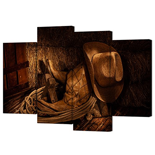 VVOVV Wall Decor 4 Pieces Canvas Prints American West Rodeo Cowboy Hat Wall Art Cowboy Boots and Lariat in front of Hay Bale Modern Canvas Painting Picture Prints for Home Decor ()