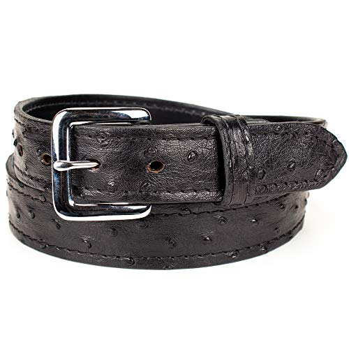 Genuine Ostrich Skin Leather Belt (Size 34, Black)