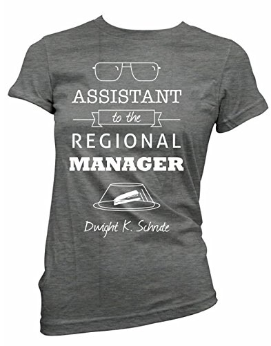Brain Juice Tees Assistant To The Regional Manager Dwight Schrute Womens Junior Fit Shirt (Large, Charcoal)
