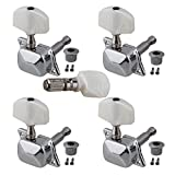 Yibuy Chrome Semiclosed Machine Heads White Pearl Button For Uke & Banjo Pack of 5