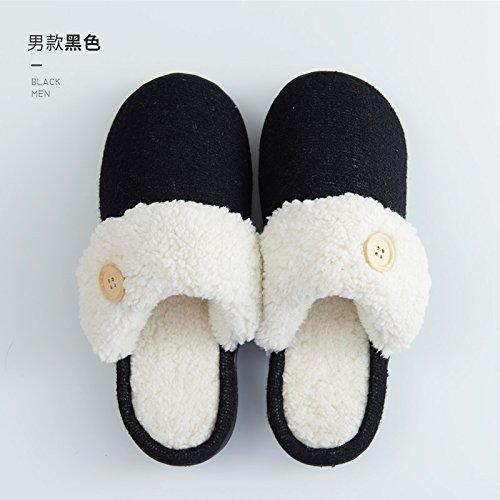 Cotone fankou pantofole inverno gli uomini e le donne al fine di non-slip home home carino pacchetto caldo con le coppie il ribaltamento di pantofole inverno 40/41 (per 39-40 piedi), girare la sezione