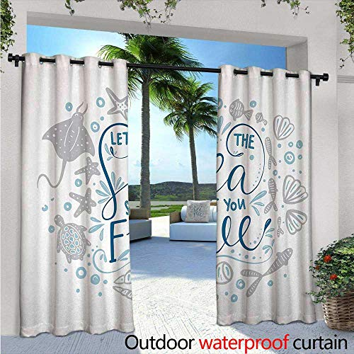 Basketball Stingray (Nautical Indoor/Outdoor Single Panel Print Window Curtain W72 x L108 Let The Sea Set You Free Quote with Shellfish Turtle and Stingray Silver Grommet Top Drape Pearl Navy Blue Pale Blue)
