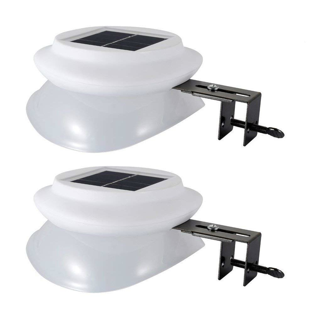 Outdoor Solar Gutter Light, Wireless 9 LED 100LM 6500K White UFO Sun Powered Wall Lamp with Light Sensor for Garden, Front Door, Back Yard, Driveway, Garage, Patio (2 Pack)