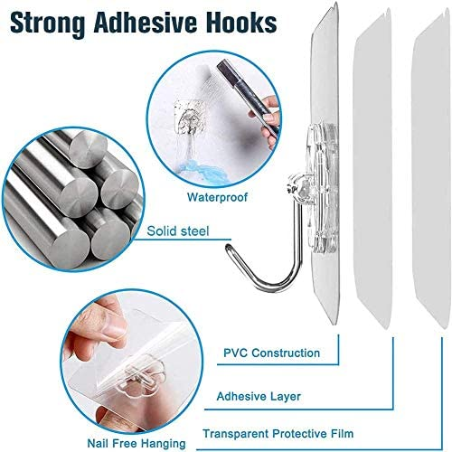 SHENYUN 30PCS Transparent Adhesive Hooks, Waterproof and Oilproof Reusable Hooks, No Scratch Multi-Purpose Hook for Bathroom Kitchen Wall Door and Ceiling, Durable and Powerful